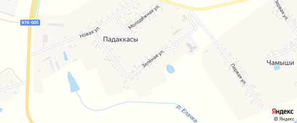 Центральная улица на карте деревни Падаккасы (Орининское с/п) с номерами домов