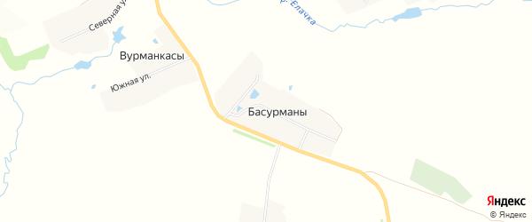 Карта деревни Басурманы в Чувашии с улицами и номерами домов