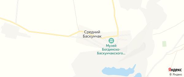 Карта поселка Среднего Баскунчака в Астраханской области с улицами и номерами домов