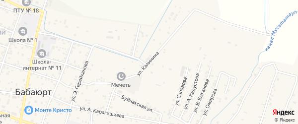 Тупик Калинина на карте села Бабаюрта с номерами домов