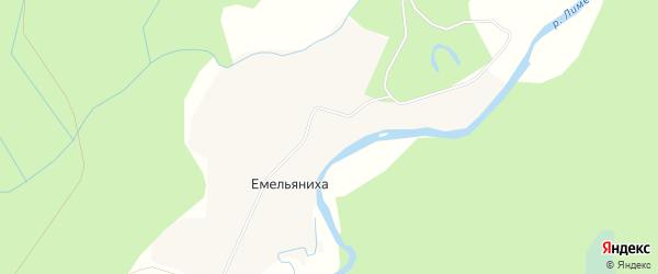 Карта деревни Емельянихи в Архангельской области с улицами и номерами домов