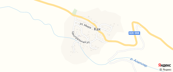 Центральная улица на карте села Каха с номерами домов