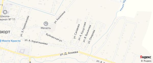 Улица Сапавова на карте села Бабаюрта с номерами домов