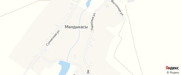 Восточная улица на карте деревни Малдыкас с номерами домов