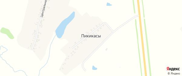 Зеленая улица на карте деревни Пикикас с номерами домов