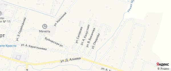 Улица Калустова на карте села Бабаюрта с номерами домов