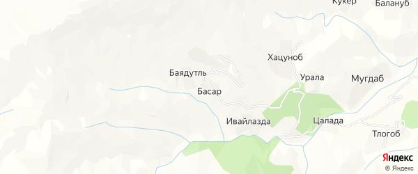 Карта хутора Басара в Дагестане с улицами и номерами домов