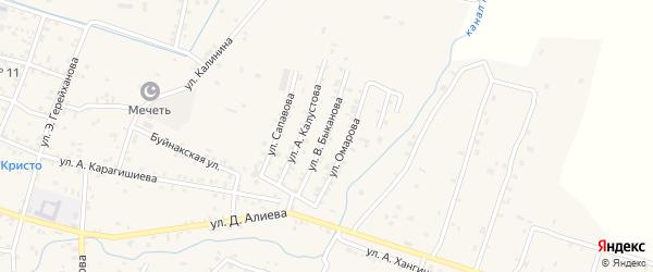 Улица Быканова на карте села Бабаюрта с номерами домов