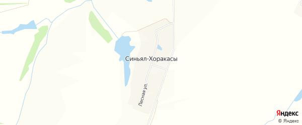 Карта деревни Синьял-Хоракасы в Чувашии с улицами и номерами домов