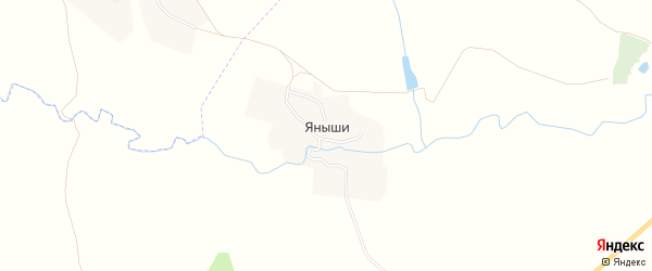 Карта деревни Яныши в Чувашии с улицами и номерами домов