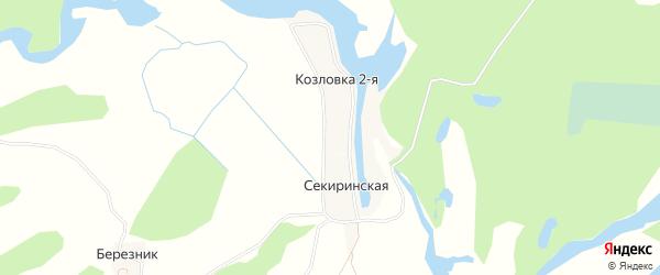 Карта Козловка 2-я деревни города Сольвычегодска в Архангельской области с улицами и номерами домов