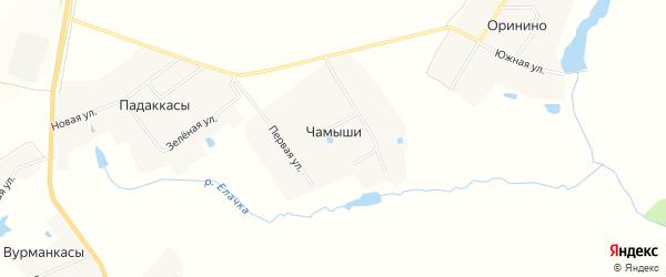 Карта деревни Чамыши в Чувашии с улицами и номерами домов
