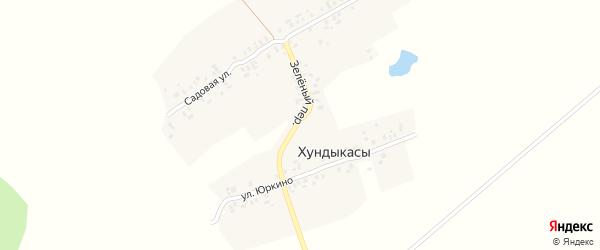 Зеленый переулок на карте деревни Хундыкас с номерами домов