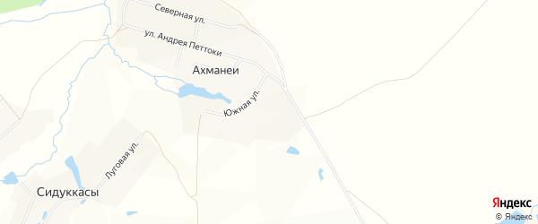 Карта села Ахманеи в Чувашии с улицами и номерами домов