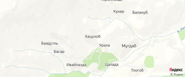 Карта хутора Хацуноба в Дагестане с улицами и номерами домов