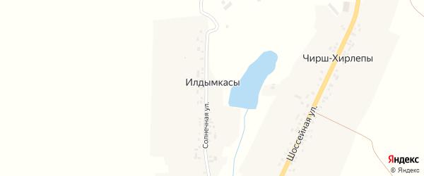 Солнечная улица на карте деревни Илдымкас с номерами домов