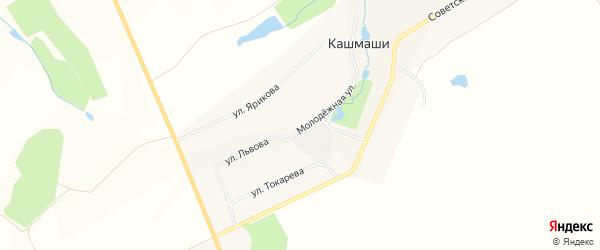 Карта деревни Кашмашей в Чувашии с улицами и номерами домов