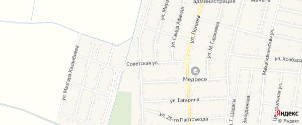 Советская улица на карте села Зубутли-Миатли с номерами домов