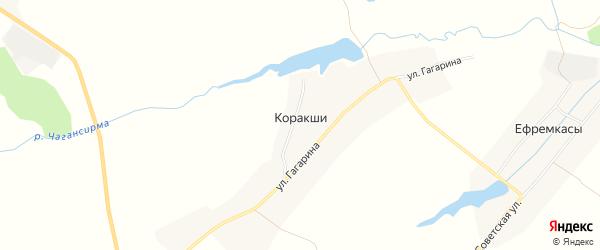 Карта деревни Коракши в Чувашии с улицами и номерами домов