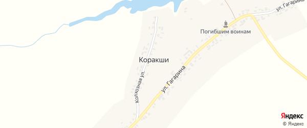 Колхозная улица на карте деревни Коракши с номерами домов