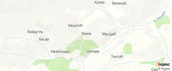Карта хутора Уралы в Дагестане с улицами и номерами домов