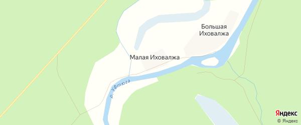 Карта деревни Малой Иховалжа в Архангельской области с улицами и номерами домов