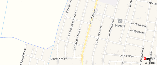 Улица Саида Афанди на карте села Зубутли-Миатли с номерами домов
