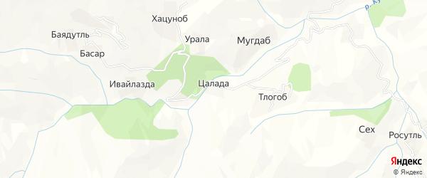 Карта хутора Цалады в Дагестане с улицами и номерами домов
