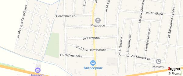 Улица Гагарина на карте села Зубутли-Миатли с номерами домов