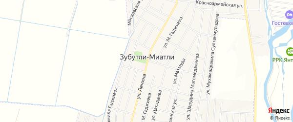 Карта села Зубутли-Миатли в Дагестане с улицами и номерами домов