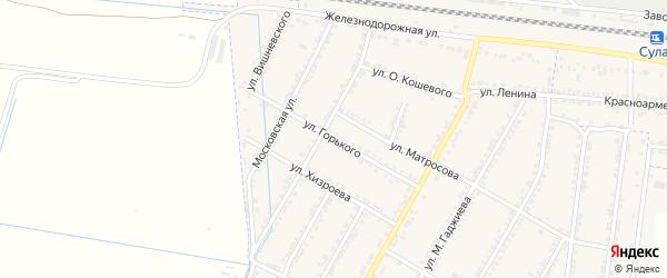 Улица Горького на карте села Зубутли-Миатли с номерами домов