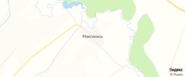 Карта деревни Максикас в Чувашии с улицами и номерами домов