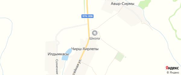 Карта деревни Чирша-Хирлепы в Чувашии с улицами и номерами домов