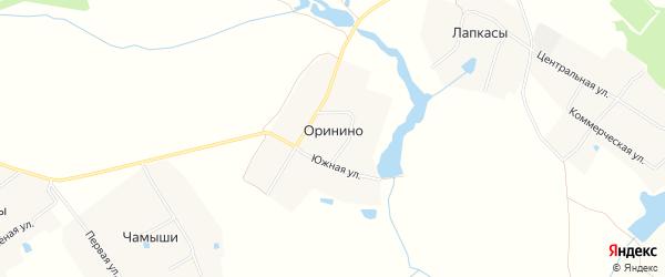 СТ Урожай на карте села Оринино с номерами домов