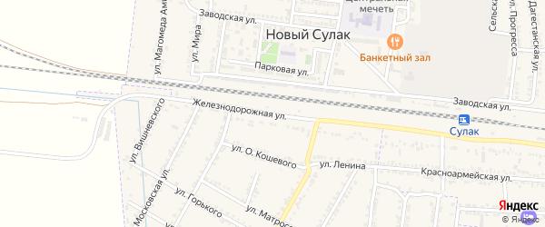 Железнодорожная улица на карте села Зубутли-Миатли с номерами домов