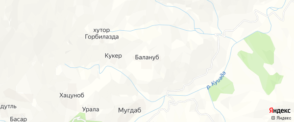 Карта хутора Балануба в Дагестане с улицами и номерами домов