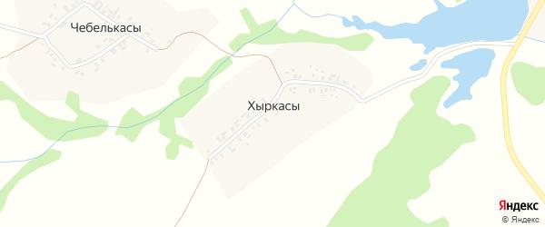 Центральная улица на карте деревни Хыркас с номерами домов