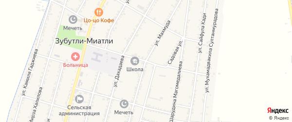 Школьная улица на карте села Зубутли-Миатли с номерами домов