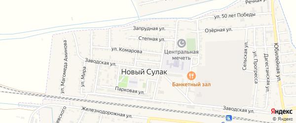 2-я Заводская улица на карте поселка Нового Сулака с номерами домов