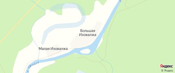 Карта деревни Большей Иховалжа в Архангельской области с улицами и номерами домов