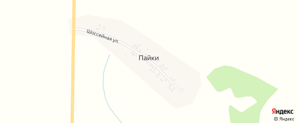 Солнечная улица на карте деревни Пайки с номерами домов