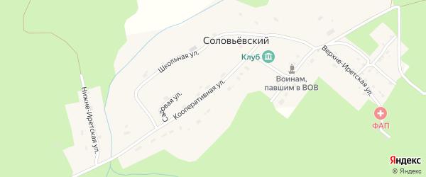 Кооперативная улица на карте Соловьевского поселка с номерами домов