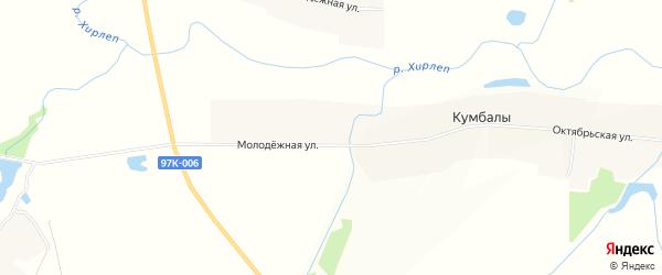 Карта деревни Кумбал в Чувашии с улицами и номерами домов