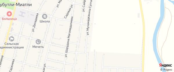 Улица Мухамадвакила Султанмурадова на карте села Зубутли-Миатли с номерами домов