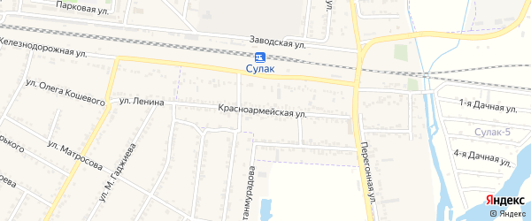 Красноармейская улица на карте поселка Нового Сулака с номерами домов