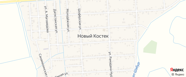 Улица Г.Гамидова на карте села Нового Костека с номерами домов