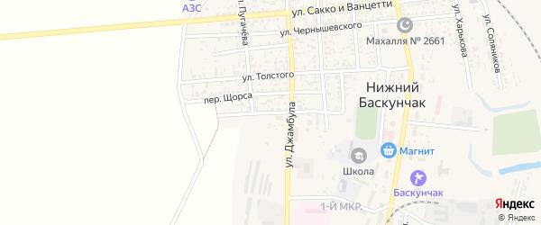 Переулок Пугачева на карте поселка Нижнего Баскунчака с номерами домов