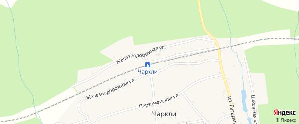Железнодорожная улица на карте разъезда Чаркли с номерами домов