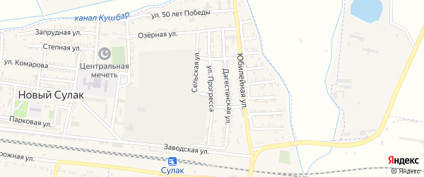 Улица Прогресса на карте поселка Нового Сулака с номерами домов