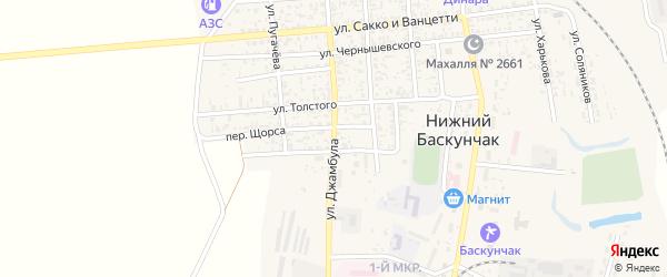 Улица Джамбула на карте поселка Нижнего Баскунчака с номерами домов